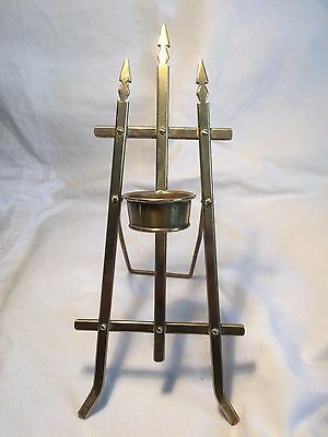 Antique brass miniature easel candle holder
