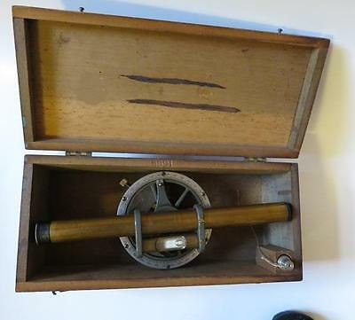 Antique Brass Precision Surveying Transit Tool Original Fitted Box And Plumb