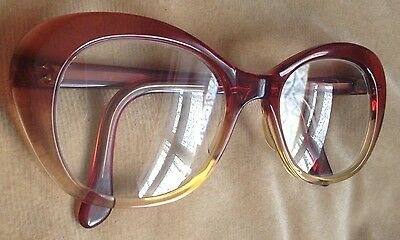 VINTAGE/RETRO 1960s BROWN/CLEAR PLASTIC SPECTACLES CATS EYE/OVAL