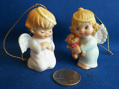 GORHAM ORNAMENTS ANGELS Set Of 2 1984 Hand Decorated Porcelain EXC CONDITION
