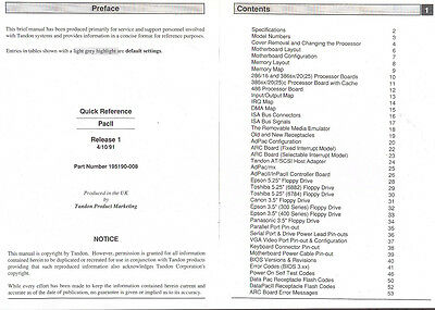 Quick Reference Tandon PacII