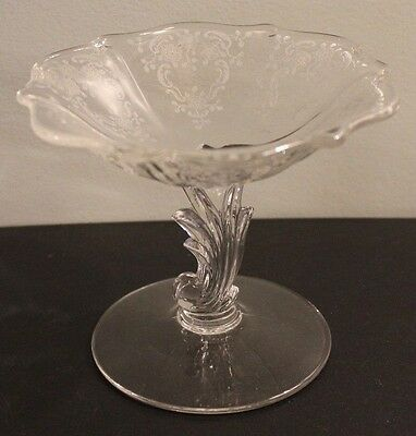 Lovely Vintage Fostoria Glass Compote Meadow Rose Clear Pattern