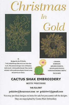 CHRISTMAS IN GOLD MACHINE EMBROIDERY PATTERN W/CD, by Cactus Shak Embroidery NEW