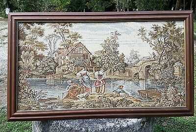 Vintage French framed large tapestry wall hanging embroidery 123x74cm