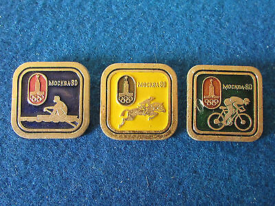 Original Russian Badges - Moscow Olympics 1980 - Lot of 3 - Events