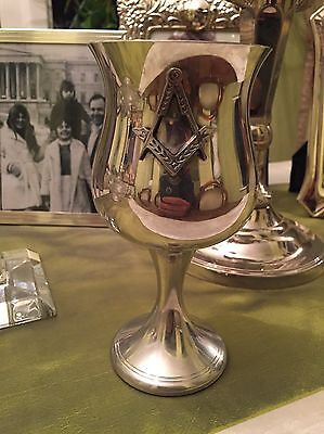 Vintage Masonic Goblet English Pewter Made In Sheffield Initials RD