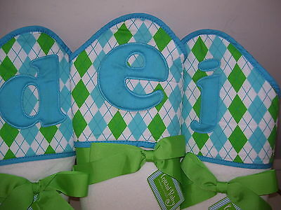 """Mud Pie Initial HOODED TOWEL """"D"""", """"E"""",or """"J"""" Baby Blue Green Argyle COTTON NWT"""