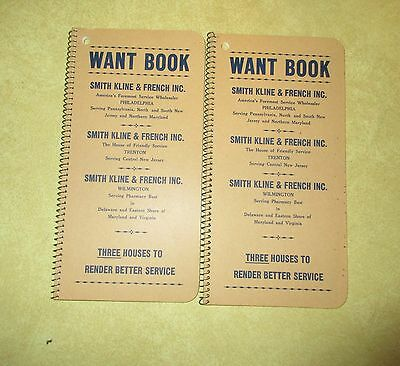2 Vintage Smith Kline & Frenc Advertising WANT Tablets Notebooks