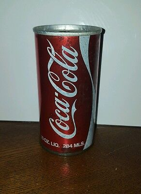 Coke 10oz Pull Tab Soda Can 1970s  Indoor Can Canadian  Metalic Red