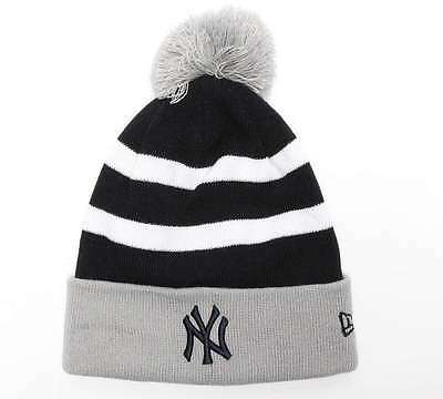 Mens New Era New York Yankees Striped Bobble Hat