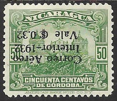 NICARAGUA Sc C59 VARIETY MAXWELL A62a INVERTED SURCHARGE MINT OG