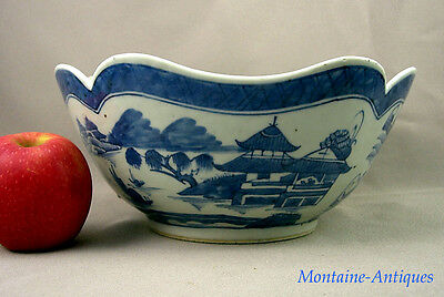 antique Chinese Export Canton Punch Bowl c. 19th cent