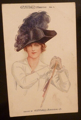 Vintage Postcard, The Fitzall Fashions No 1/ Glamour lady