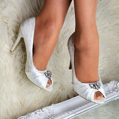 Ladies Ivory Wedding Peep toe Heels French Lace High Heel Satin Shoes Pumps Size