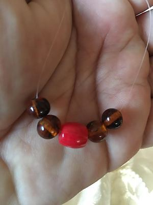 Ancient and rare, natural (1)Red Coral and (4)Amber collection beads from Yemen