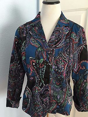 Coldwater Creek Slit Long Sleeve Button Front Lined Blazer Jacket Size P14