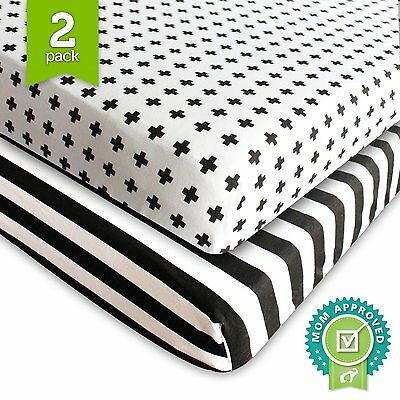 Crib Sheet Fitted Jersey Cotton 2 Pack Black, White, Stripes, Cross