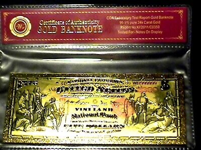 99.9% 24K Gold 1875 $5 Bill Us Banknote In Protective Sleeve W Coa