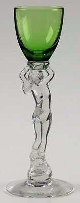 CAMBRIDGE Statuesque #3011 Nude Stem Emerald Green 1 oz. Brandy Cordial; Vtg