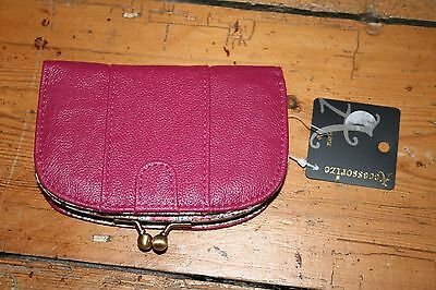 Pretty pink Accessorize leather girl's women's purse new and unused with tags