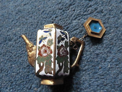 Lovely miniature enamel coffee pot with lid on a chain