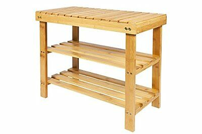 Woodluv 2 Tier Natural Bamboo Shoe Rack Bench - SAME DAY DISPATCH