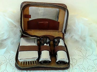 Vintage Travelling Grooming set, Chromium plated, Made in England