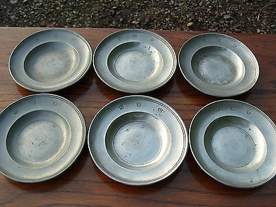 Antique Set Of 6 Small Pewter Plates Plate Dish Bowl Metal Ware Metalware