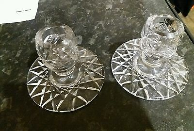 2 x vintage glass candle stick holders
