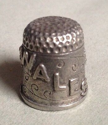 Pewter Thimble With Wales On Front With Welsh Person & 2 Trees Ex Condition