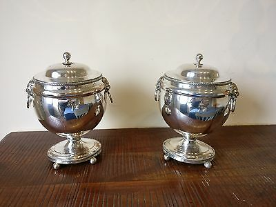 Antique English 18th century Georgian Old Sheffield Plate pair of urns & covers