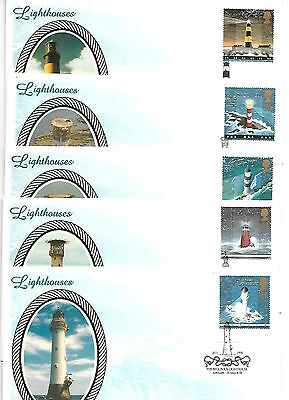 Lighthouses 1998 Set of 5 Official Benham covers with Special Postmarks.