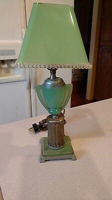 Antique Jadeite Art Deco Desk Lamp With Jadeite Shade