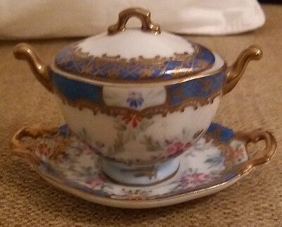 Miniature decorative tureen and dish from Paris Royal, Limoges