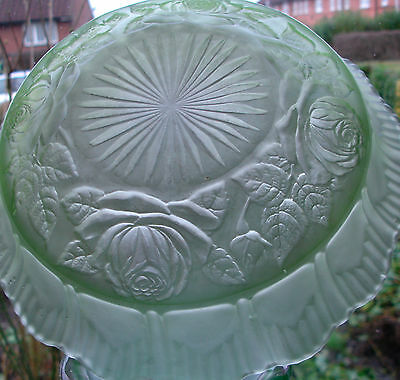 BAGLEY 1930's Art Deco green frosted  glass roses&leaves BOWL IMMACULATE