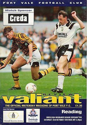 Port Vale v Reading 23/10/93 Division 2 (B1)