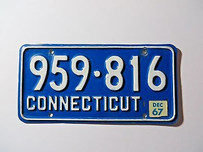 1967 Connecticut License Plate #959-816 Passenger Chevy Man Cave Muscle Car Ford