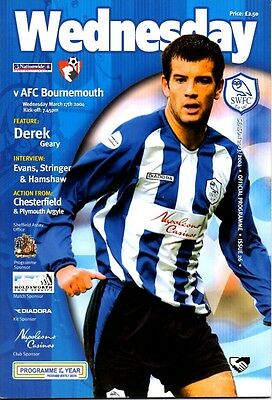 Sheffield Wednesday v Bournemouth 17/03/04 Division 2 (B1)