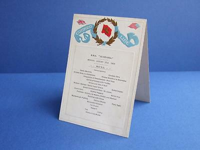 """R.M.S. """"LUSITANIA"""" STANDING TABLE MENU MONDAY AUGUST 31st 1908 - CUNARD LINE."""