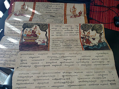 Antique Asian Thai Buddhist Paintings Art From Book Legend Phra Malai lot of 2