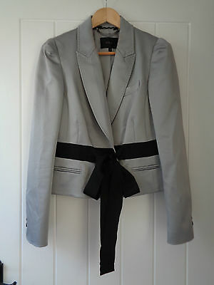 Gorgeous Silver Jacket From Coast With Fixed Black Ribbon Belt Size 16