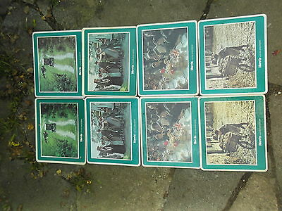 """8 vintage place mats depicting scenes from Hovis advertisements 9"""" x 7.5"""""""