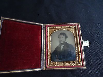 Ambrotype Of Man In Hinged Red Leather Case