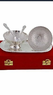 The Art Box Silver Plated Bowl Set, Set of 2, Silver, gift set