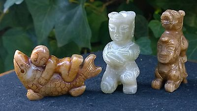 Group of Three Old Nephrite Jade Amulets Fish-Boy-Dragon Man.