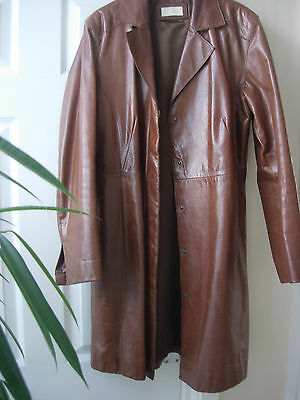 Tyler Vintage Brown Leather Coat Size 14