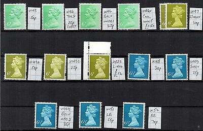 MACHIN  14 x 6p & 6.5p  DIFFERENT SPECIALISED CV £18  UNHINGED MINT