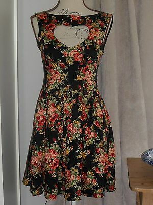 Ladies Vintage 50s Style Black Red Floral Sexy PIN UP ROCKABILLY Dress Size 8