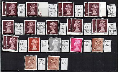 MACHIN  22 x 7p  DIFFERENT HIGHLY SPECIALISED CV £21.20  UNHINGED MINT