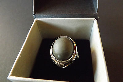 Boxed Ladies Sterling Silver 925 Grey Stone Ring (Size P)
